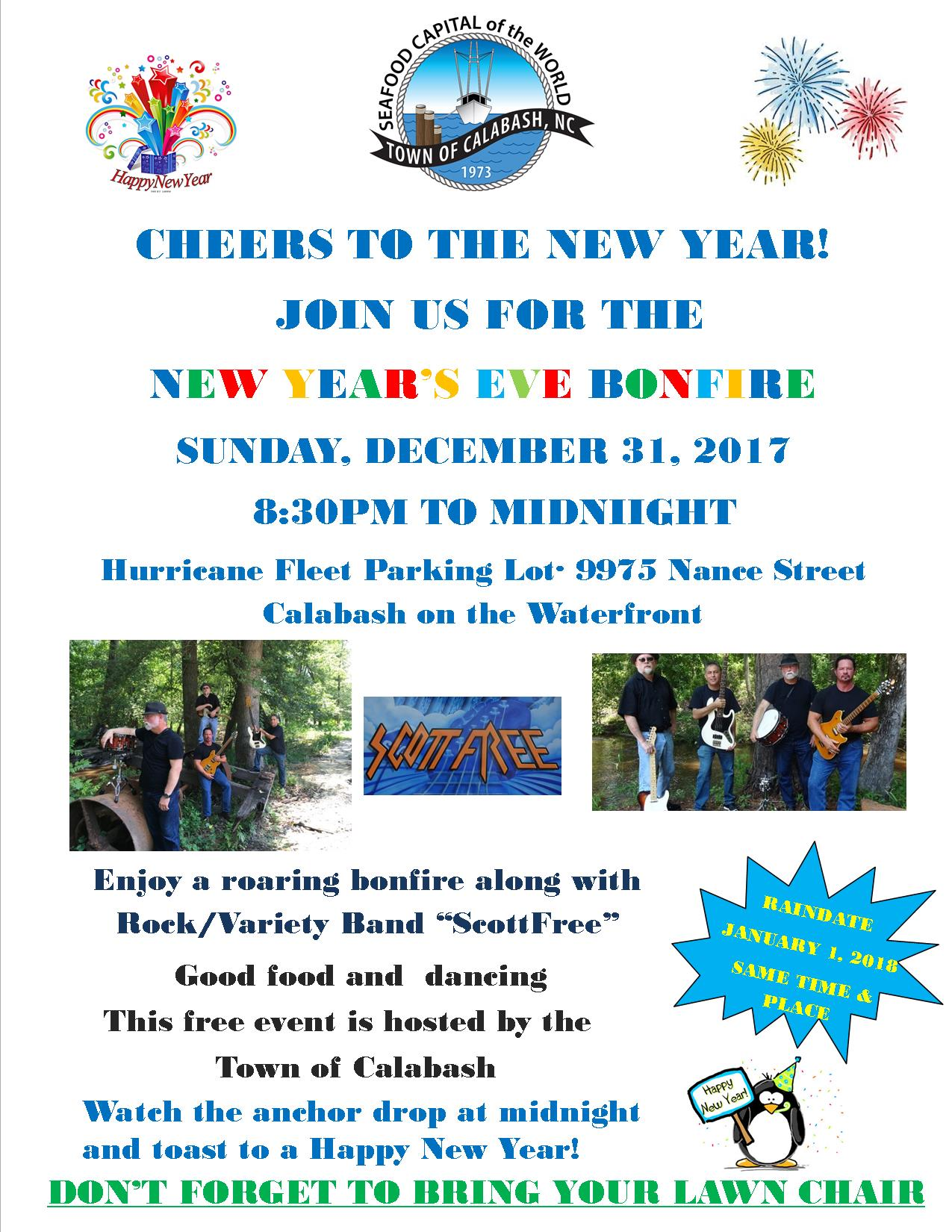 New Years Eve Bonfire 2017 flyer