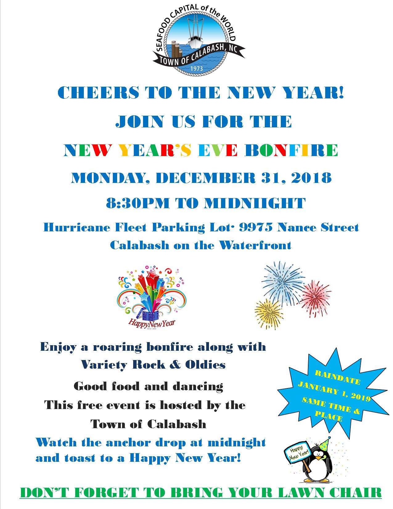 New Years Eve Bonfire 2018 flyer