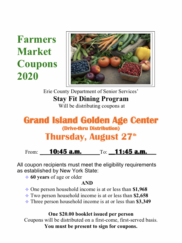 FW  Drive-Up Farmers' Market Coupon Distribution