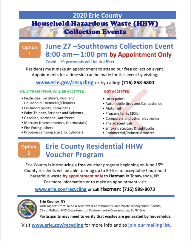 FW  Please tell your residents HHW is back and safer than ever - collection event on June 27 in the Southtowns also a new HHW