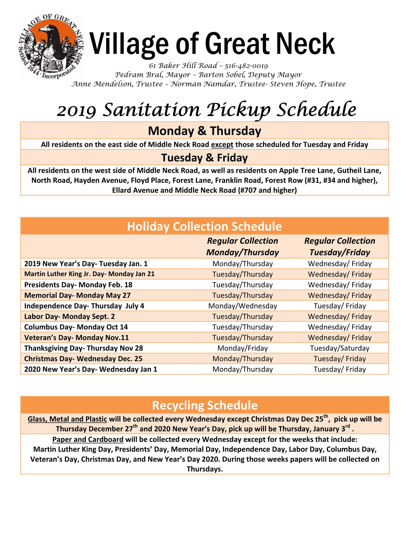 2019 Sanitation Pickup Schedule (2)