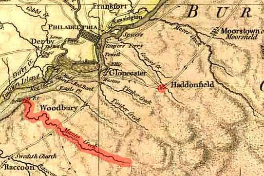 Three main roads to Haddonfield in 1777