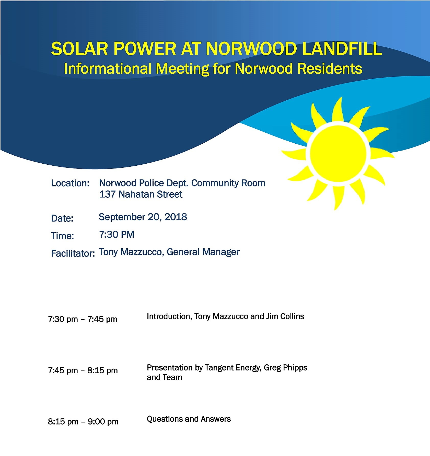 Solar Power at Norwood landfill Informational Meeting