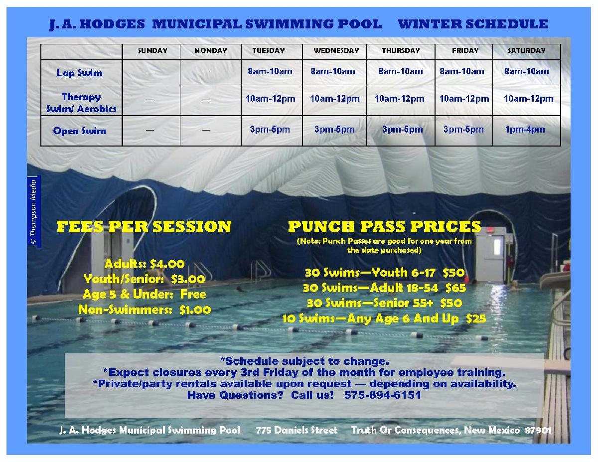 T or C Winter Pool Hours 2018 PUB