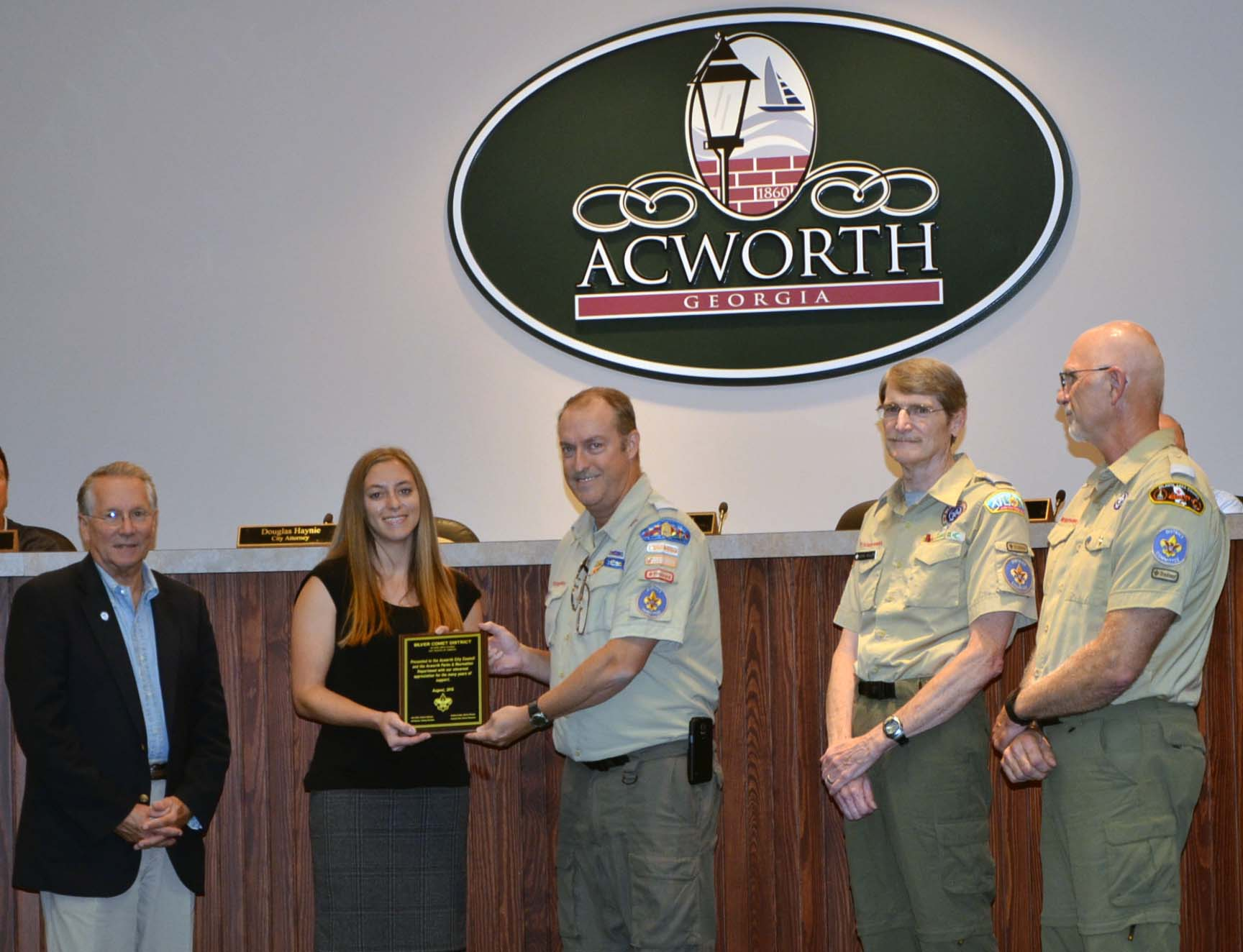 Boy Scouts Recognition of Parks, Recreation and Community Resource Dept