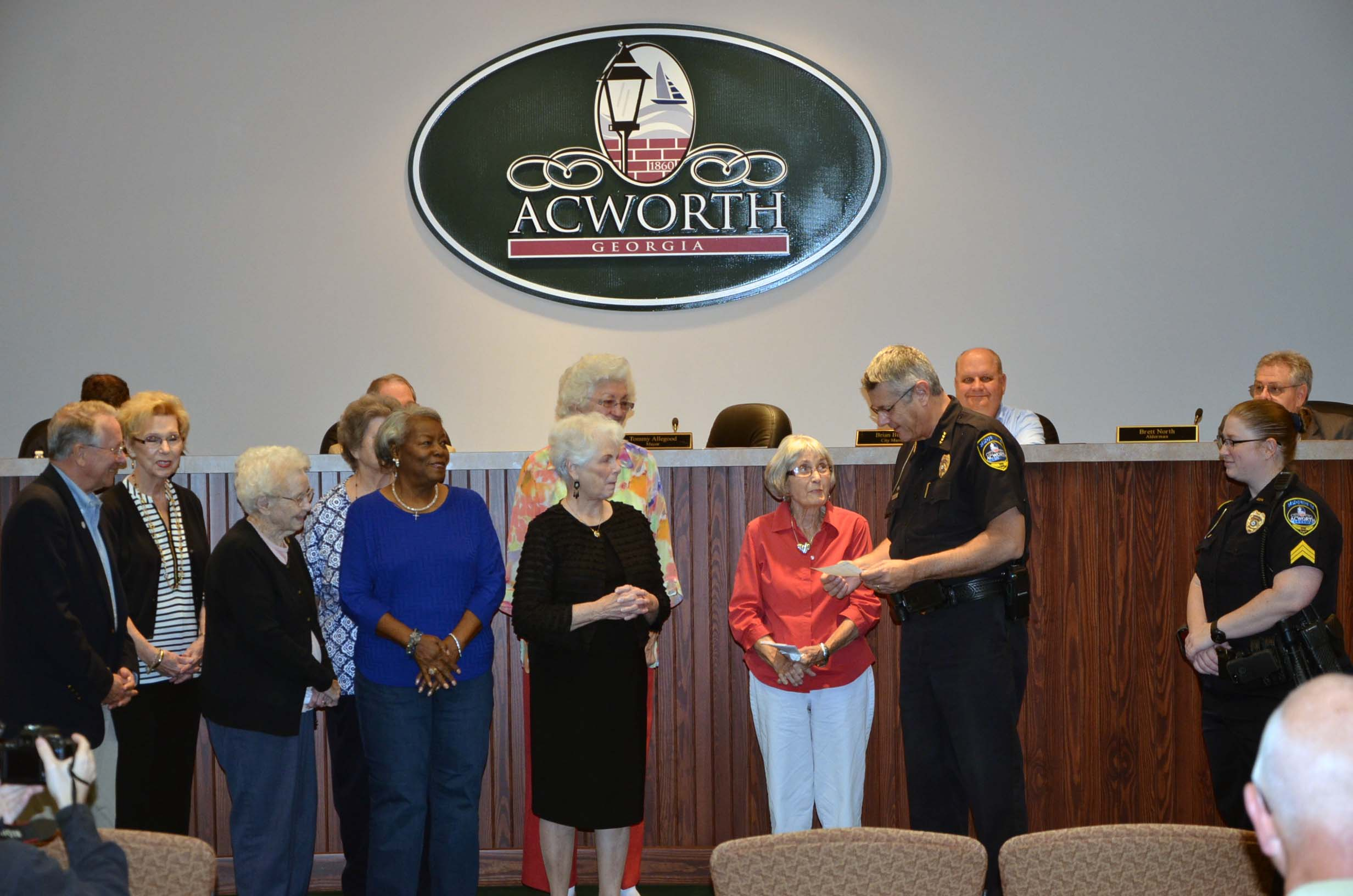 Carrie Dyer Women's Club of Acworth Presentation to the Police Department