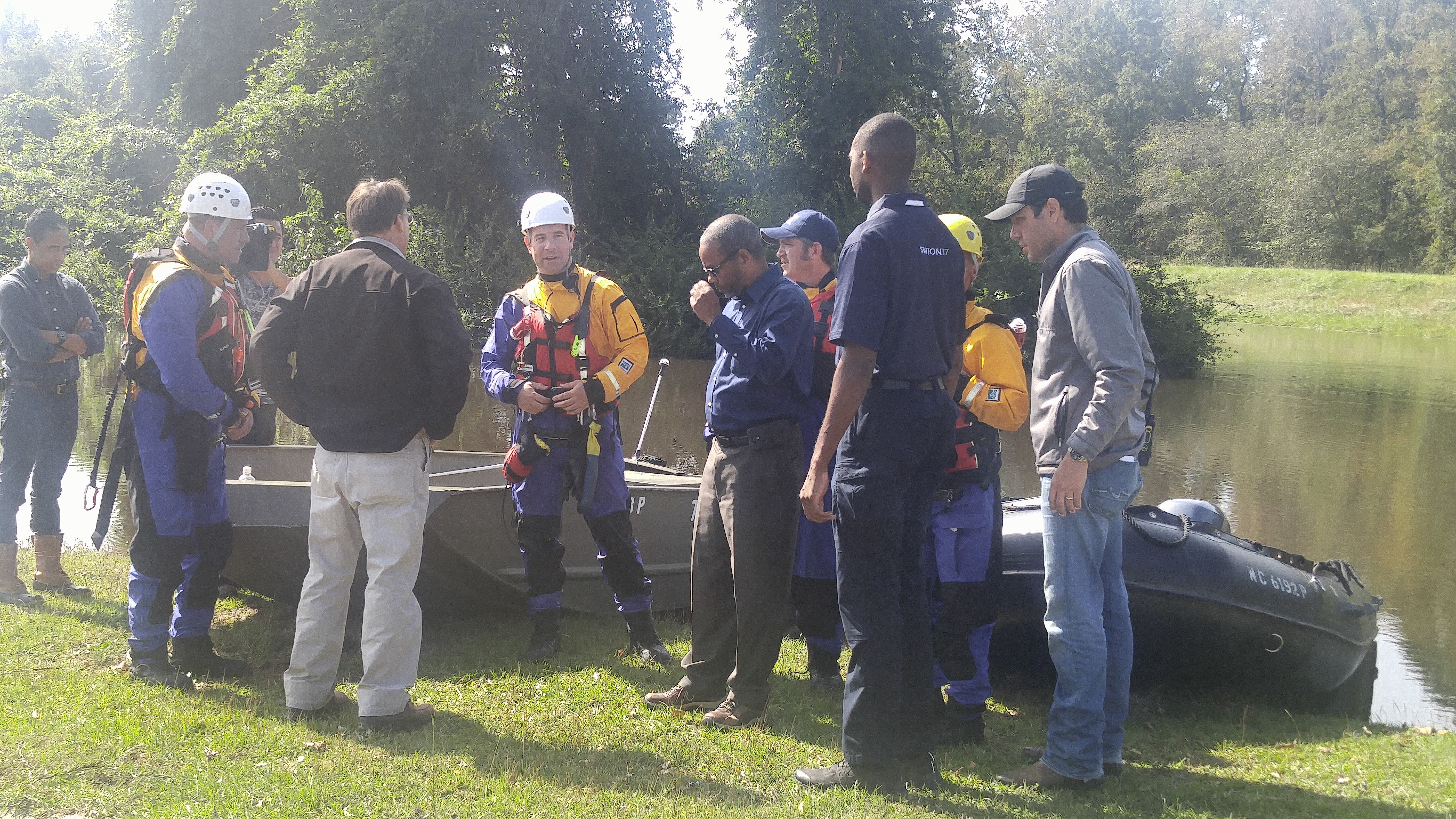 Gov. Pat McCrory talking to a swift water rescue team
