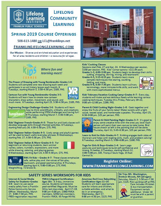 Lifelong Community Learning Spring 2019 Brochure in PDF