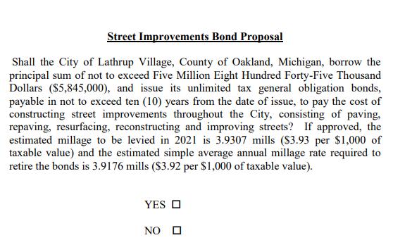 2020 Street Improvements Bond Proposal