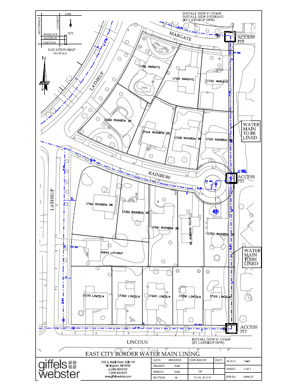 Water Main Lining Map