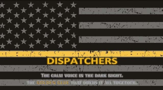 "American Flag with gold line and ""Dispatchers"""
