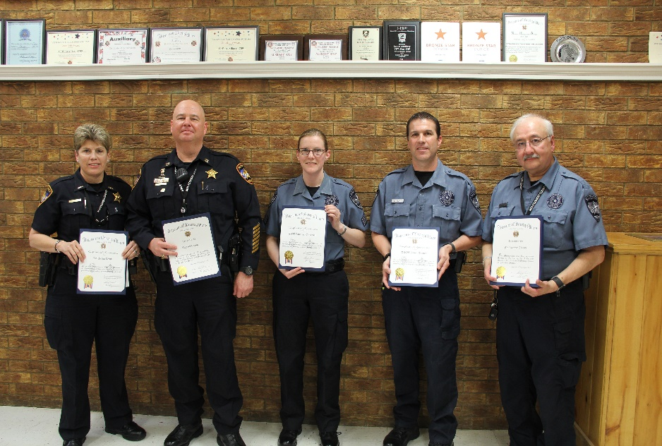 Photo of Lieutenant Felicia Webb, Captain Andy Eason, Detention Sergeant Kimberly Davis, Detention Officer Jason Turner and Detention Officer Ricardo Uresti holding their certificates of appreciation from the VFW Post 4709.