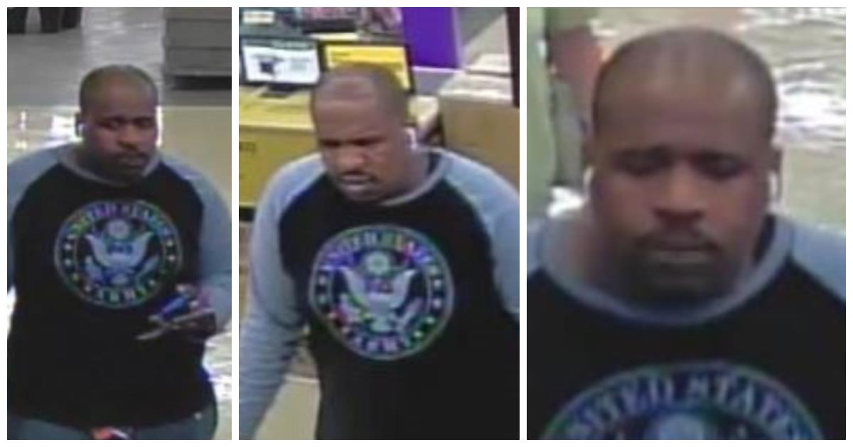 Photo collage of theft suspect wearing a gray and black baseball styled t-shrit pictured with eagle emblem.