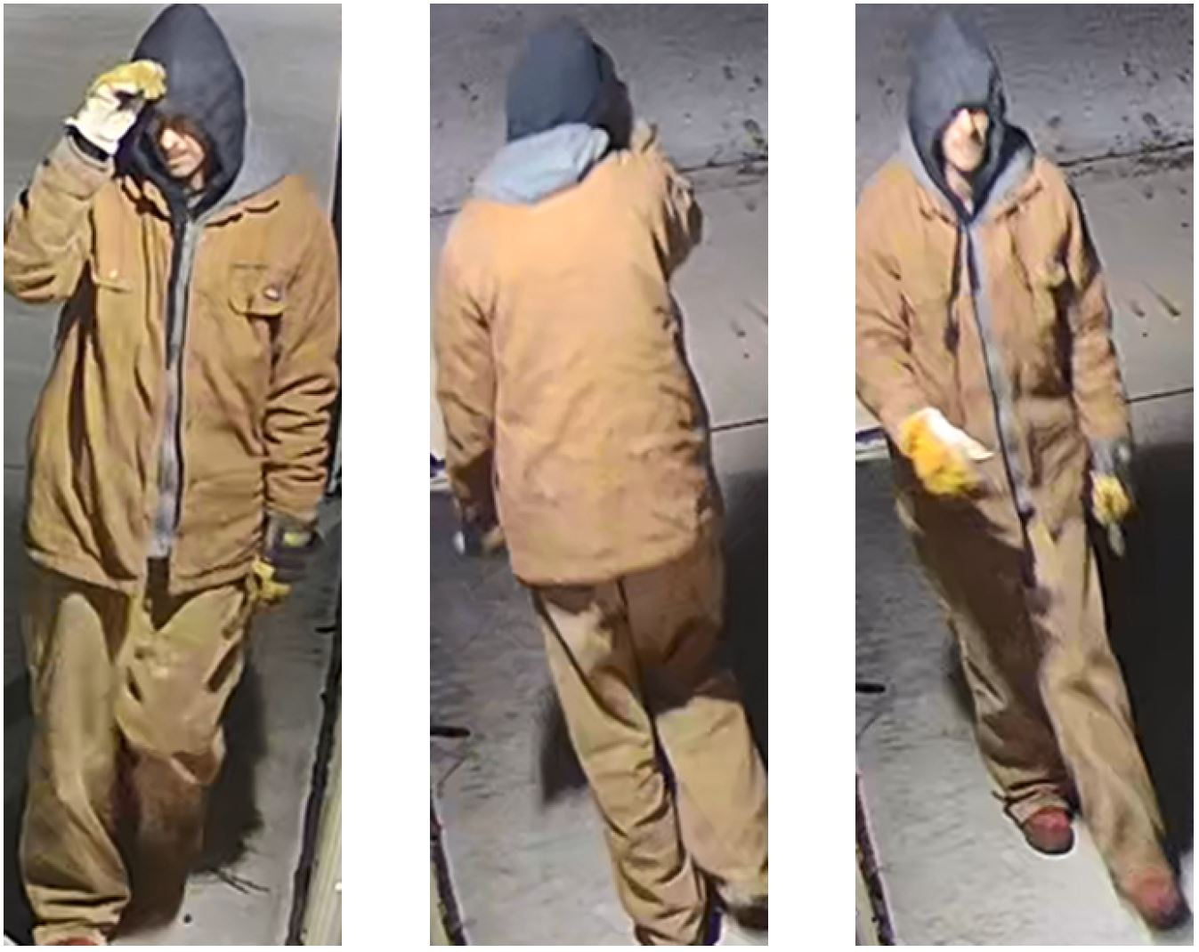 Collage of burglary suspect dressed in tan jacket, gray hoodie and tan pants. Suspect is also wearing yellow gloves.