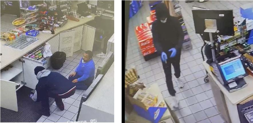 Left - photo of a suspect wearing dark clothes and gray hoodie behind the cashier's stand. Right - photo of another suspect dressed in dark clothes, white shoes, mask and surgical gloves.