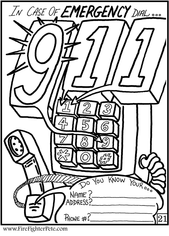 telephone 911 coloring pages - photo#2
