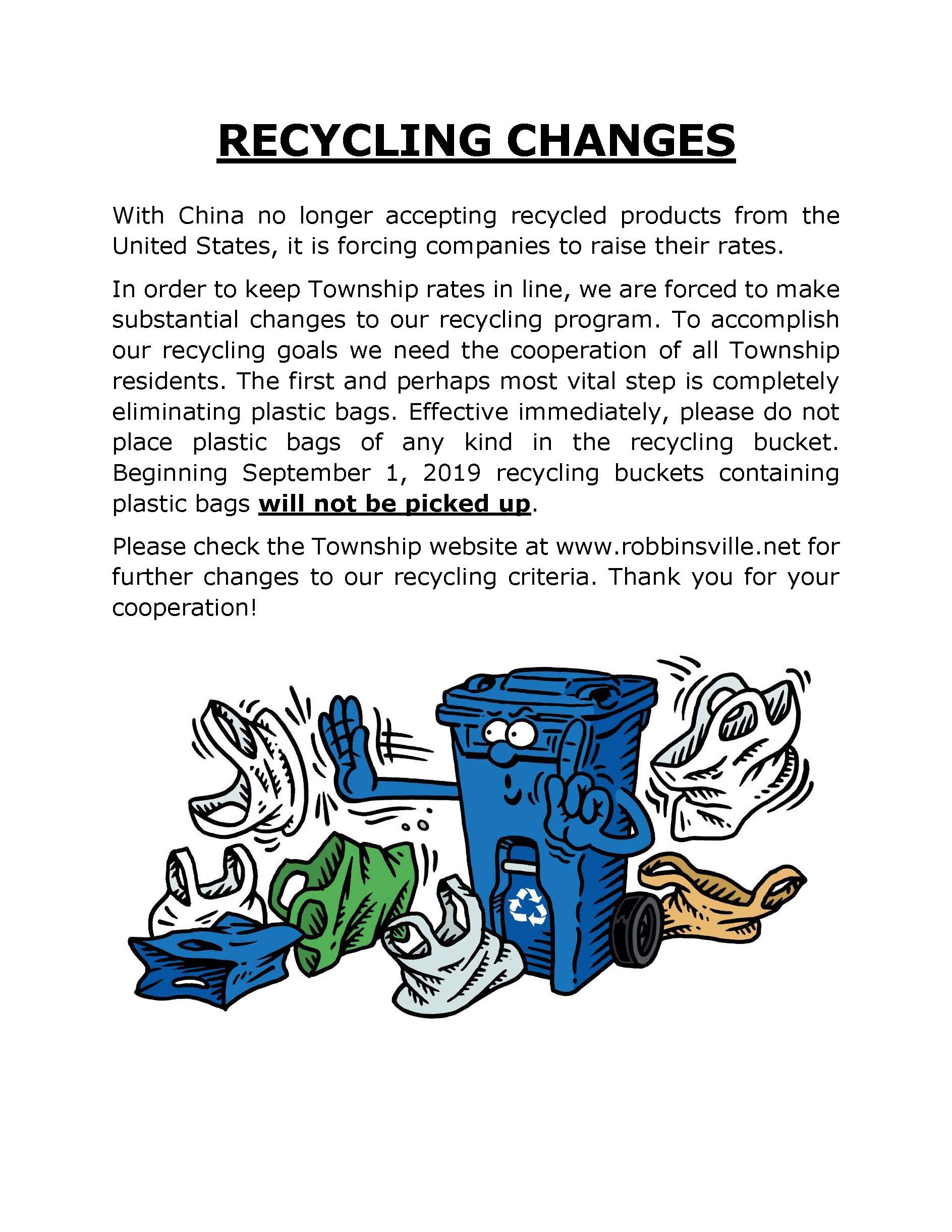 Recycling Changes Coming Soon-2019