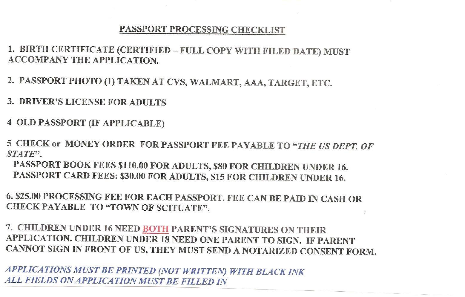 The Application Fee Must Be Paid By Check Or Money Order The Processing  Fee Can Be Paid By Cash Or Check Passport List